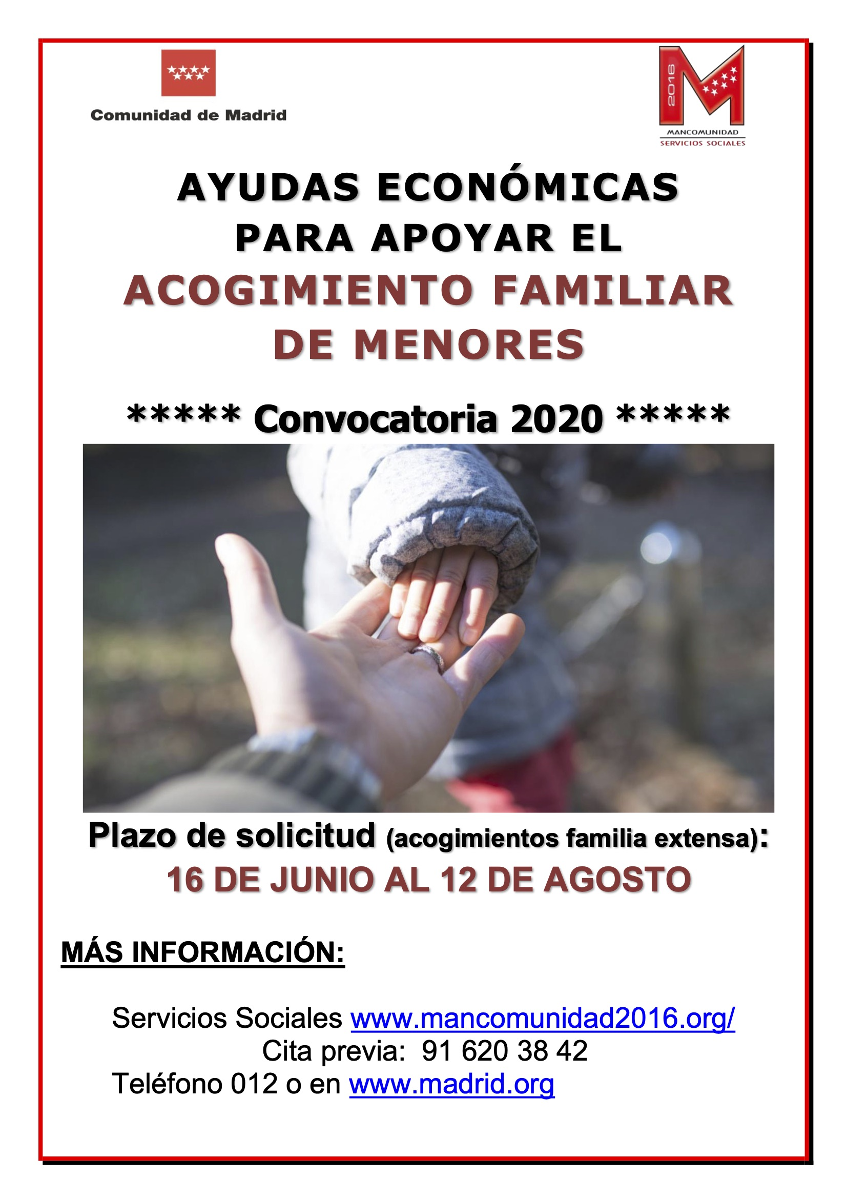 Cartel Acogimiento familiar menores 2020